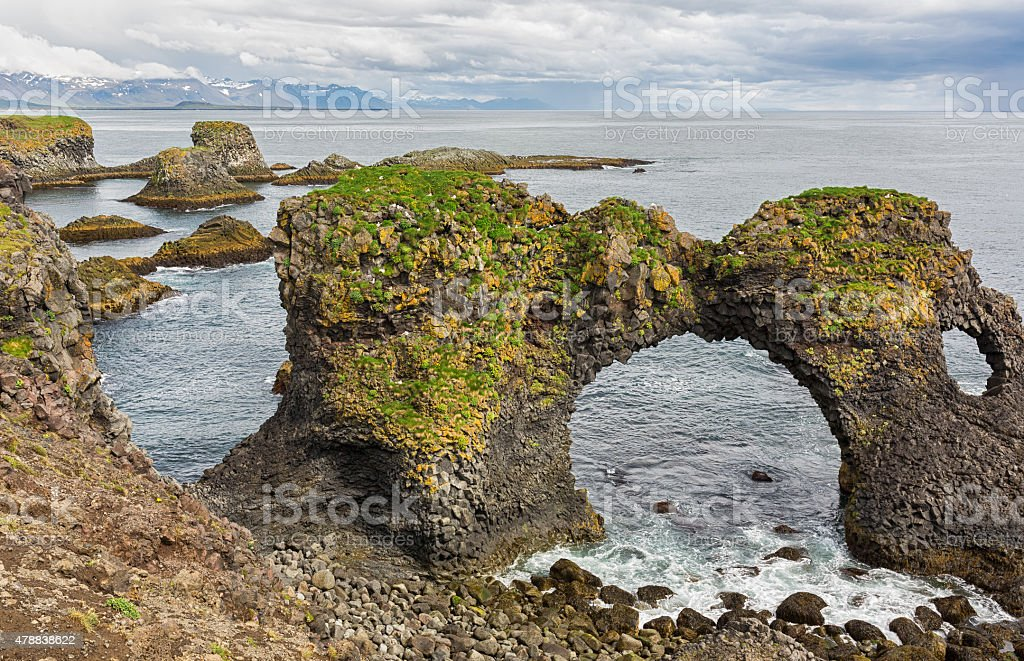 Coastal rock formations in Iceland. stock photo