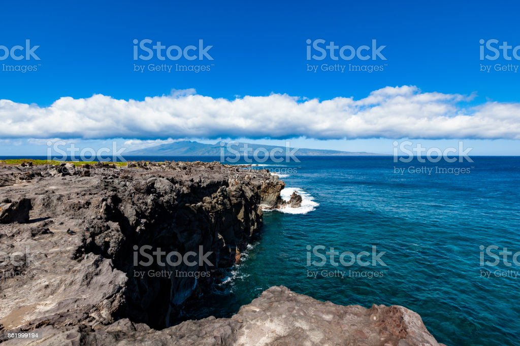 coastal rocks, west coast on maui island, hawaii islands stock photo