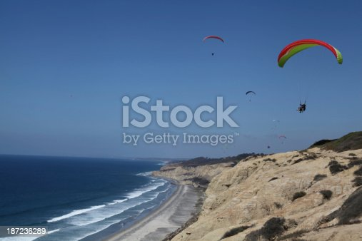 Parasailing along the beach in La Jolla, California.  Captured with Canon 5D, Mark II.