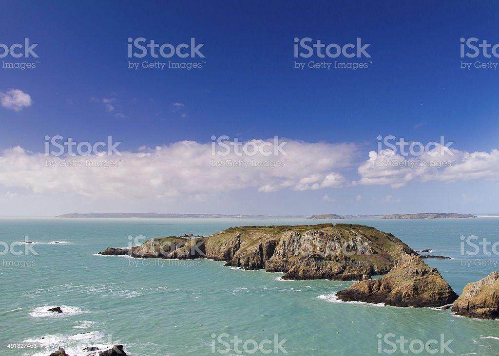 Coastal scene on the Channel Islands - Royalty-free Boulder - Rock Stock Photo