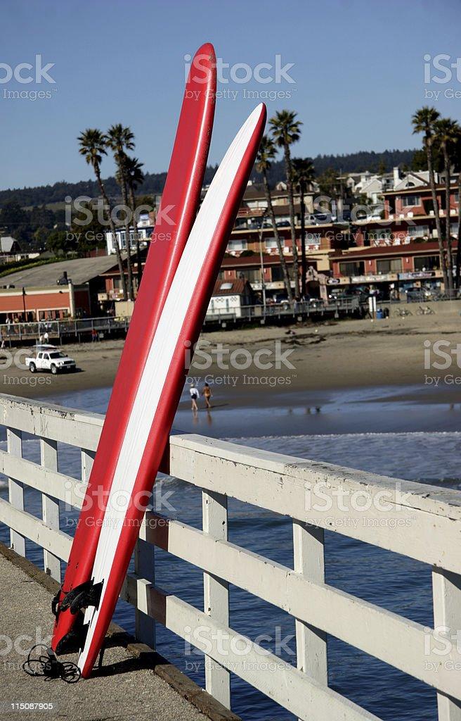 coastal scene - surf boards stock photo