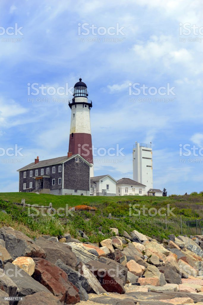 Coastal scene with Montauk Lighthouse on Atlantic Ocean, Long Island, New York - Zbiór zdjęć royalty-free (Amagansett)