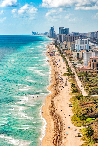 The coastline along South Florida near the Fort Lauderdale area facing south toward the city of Miami shot from an altitude of about 800 feet.