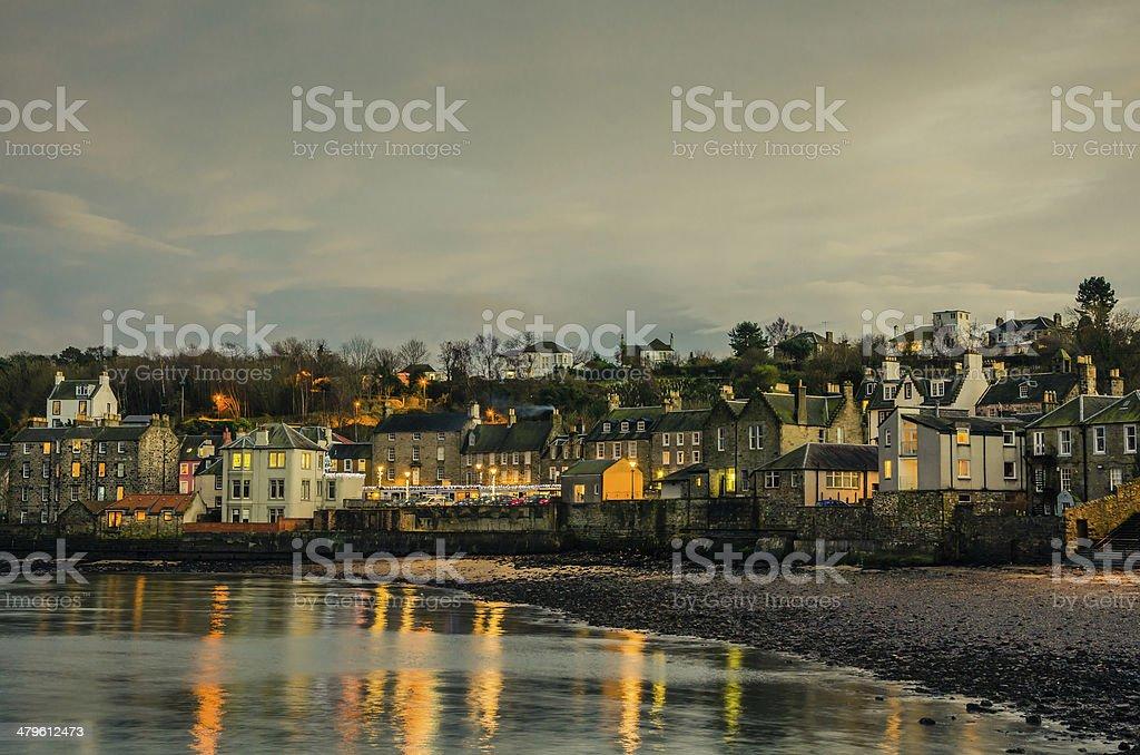 Coastal Town at Dusk stock photo
