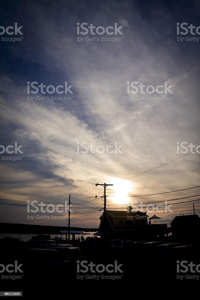 Coastal Town at Sunset royalty-free stock photo