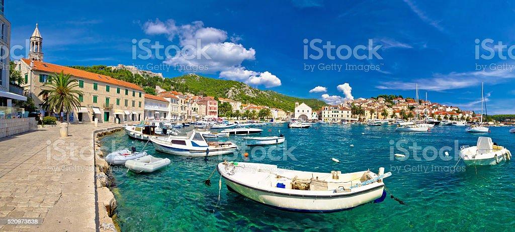 Coastal town of Hvar waterfront panorama stock photo