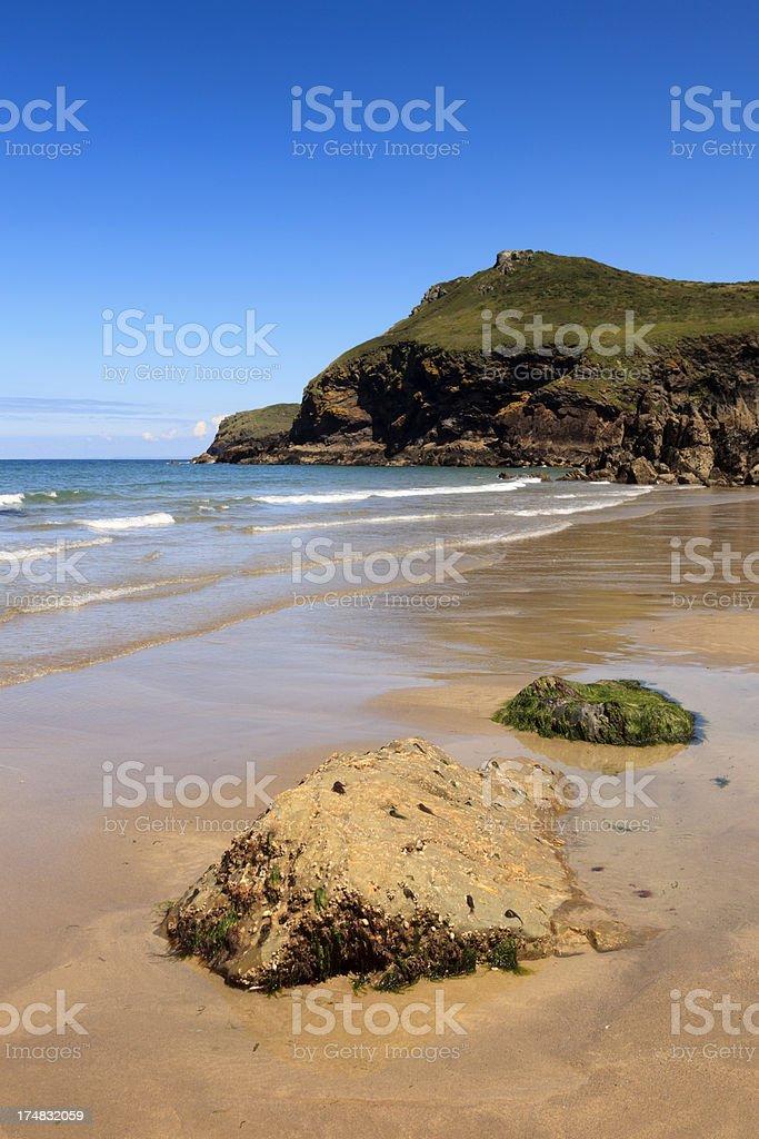 coastal view at Lundy Bay in Cornwall stock photo