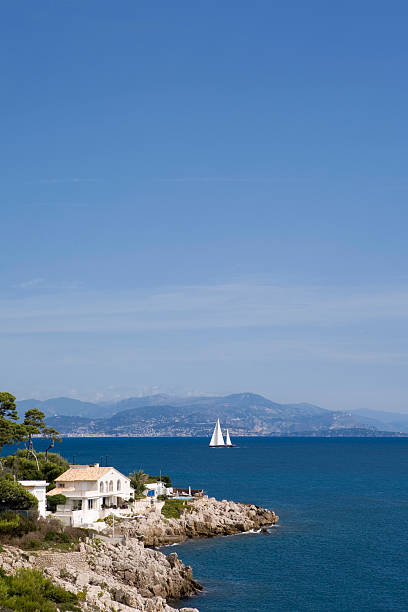 coastal view from Cap d'Antibes stock photo