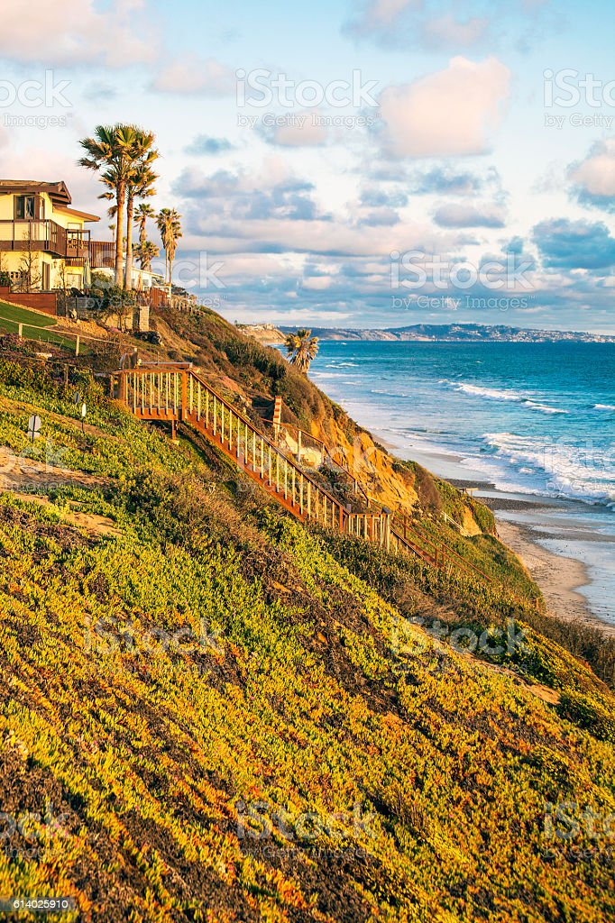 Coastal view from Encinitas, California. stock photo