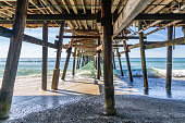 Looking out to sea from underneath the pier, at San Clemente, California