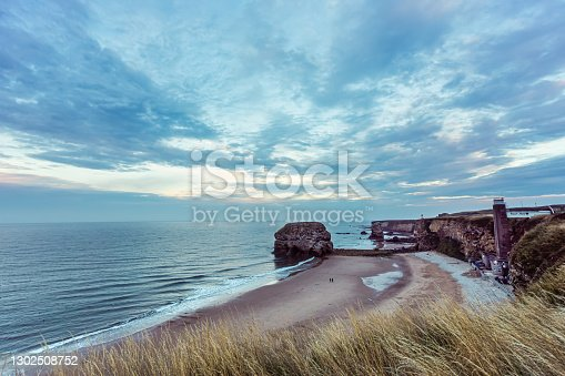 Coastal view of Marsden rock and Grotto South Shields