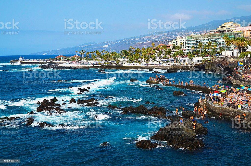 Coastal view of Puerto de la Cruz,Tenerife,Canary Islands. stock photo