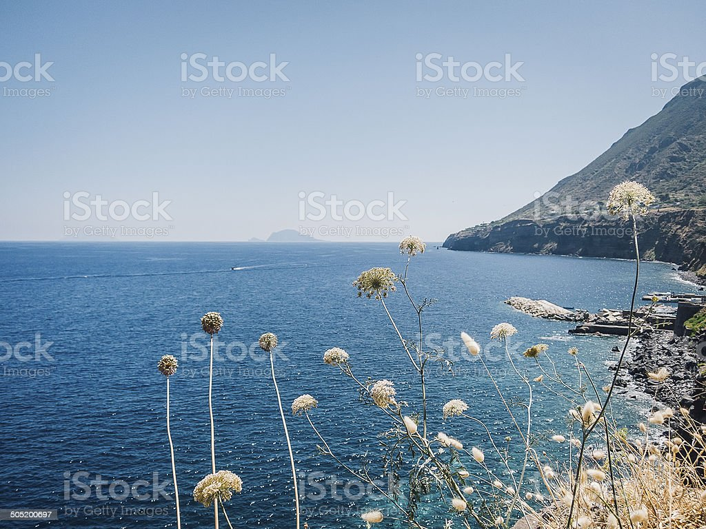 Coastal view of Salina and the Aeolian Islands, Sicily, Italy. stock photo
