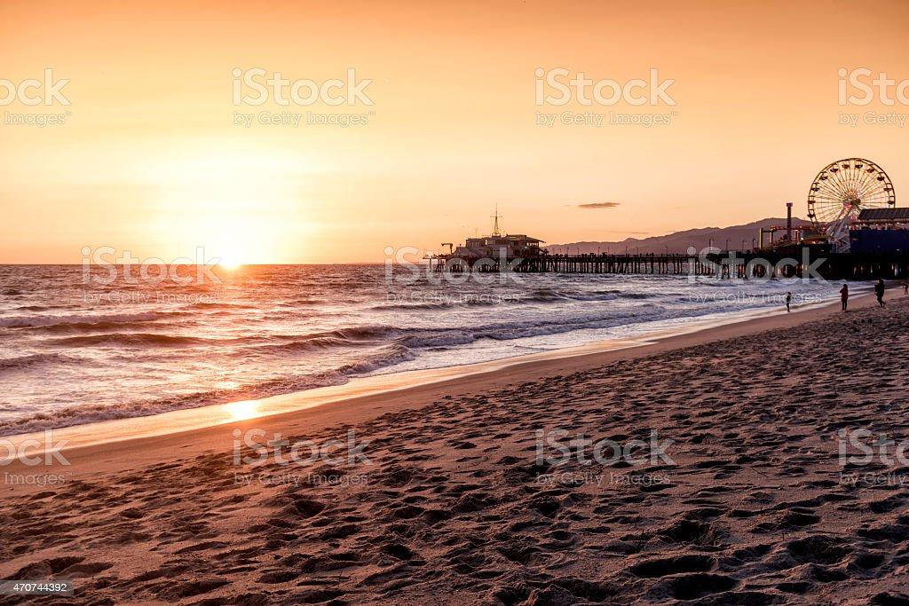 Coastal view of Santa Monica Boardwalk in Los Angeles, Ca stock photo