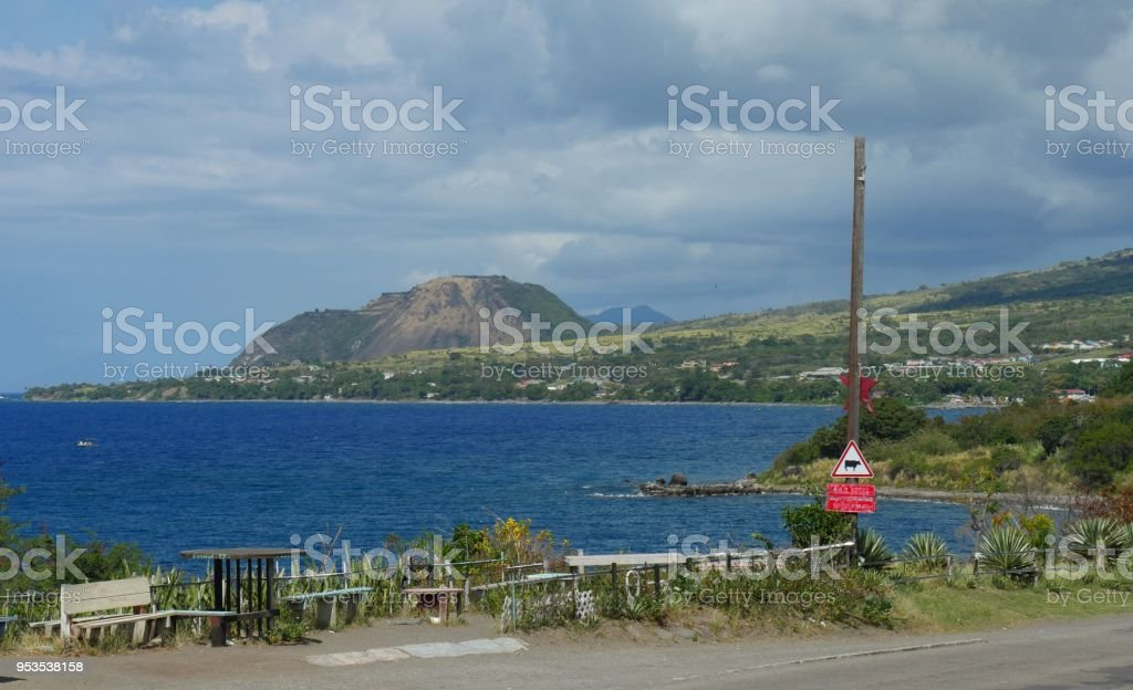 coastal view of the Challengers Village in St. Kitts stock photo