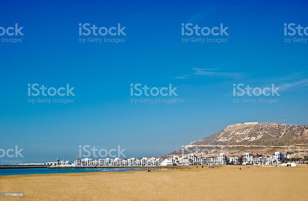 Coastal view of the skyline of Agadir city in Morocco stock photo