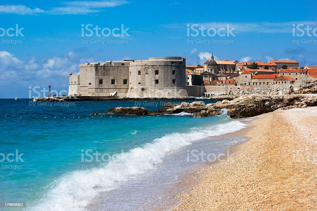 Coastal view of the town of Dubrovnik stock photo