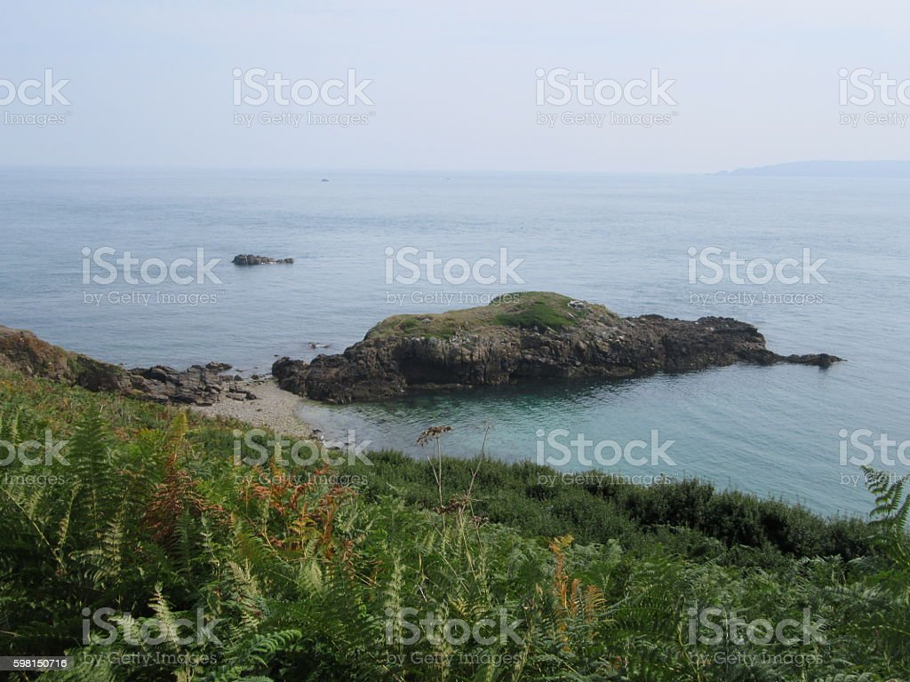 Coastal view off Herm stock photo