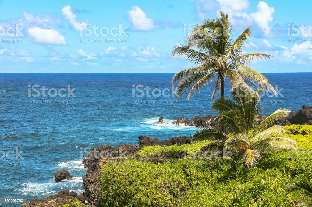 Coastal view with lava rocks on Maui, Hawaii stock photo