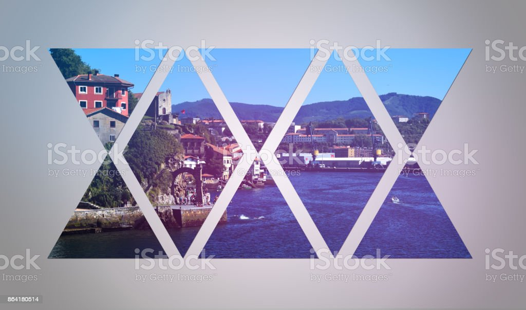 Coastal village among triangles with a white gradient background. royalty-free stock photo