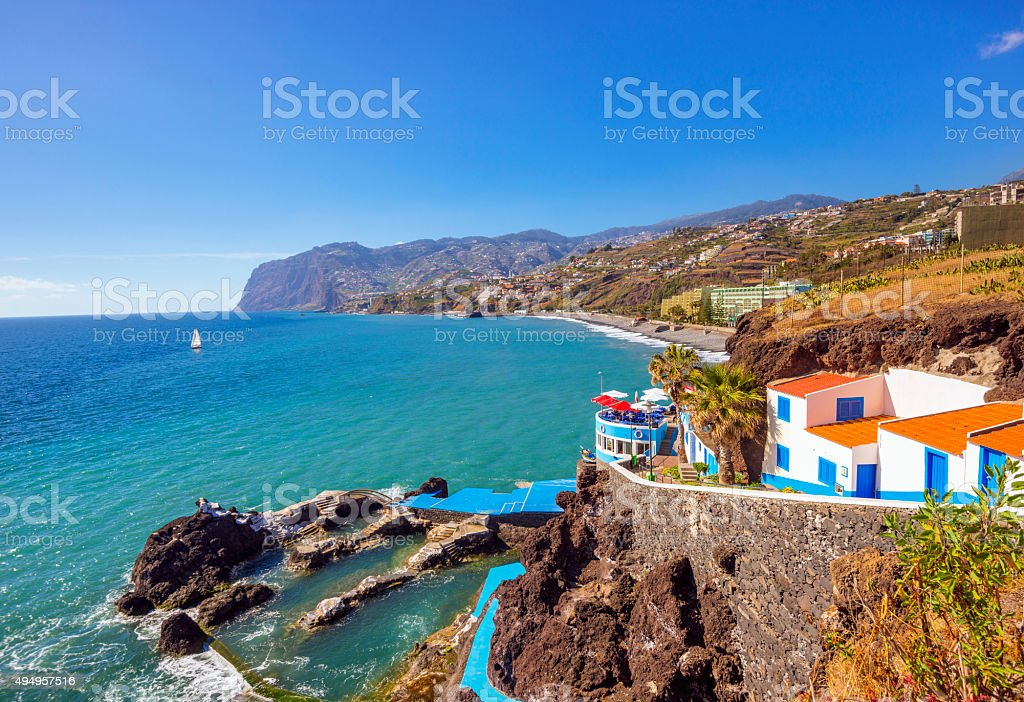 Coastal Walk and coastline at Praia Famosa, Funchal Lido stock photo