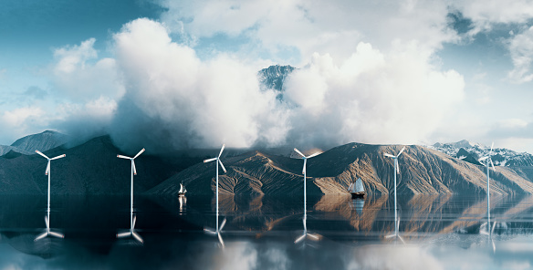 Coastal wind turbine farm park in situated in wilderness scenery with majestic mountain peak above clouds. 3d rendering.