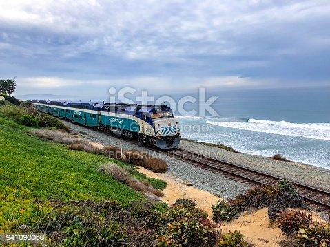 Del Mar, USA -  January 08, 2018: Coaster Commuter train on Del Mar beach, California, USA