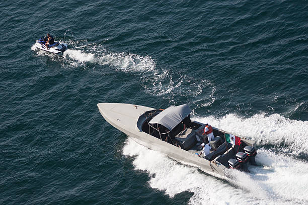 Coastguard boat in Acapulco bay stock photo