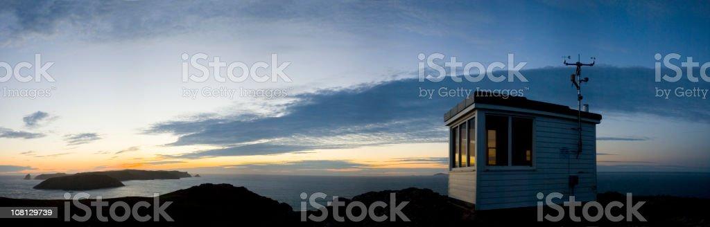 Coastguard Hut Against Sunset royalty-free stock photo