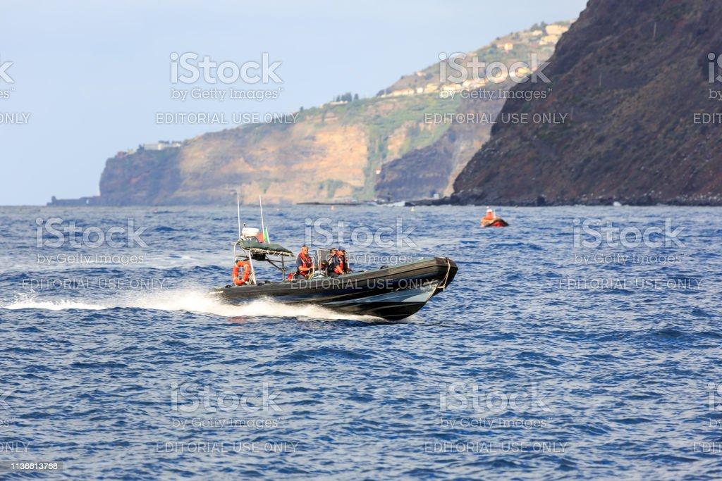 Coastguard Madeira zodiac stock photo