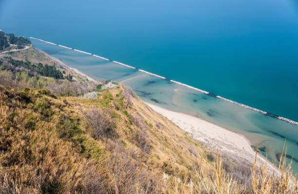 Coastline along the mount San Bartolo, near Pesaro stock photo