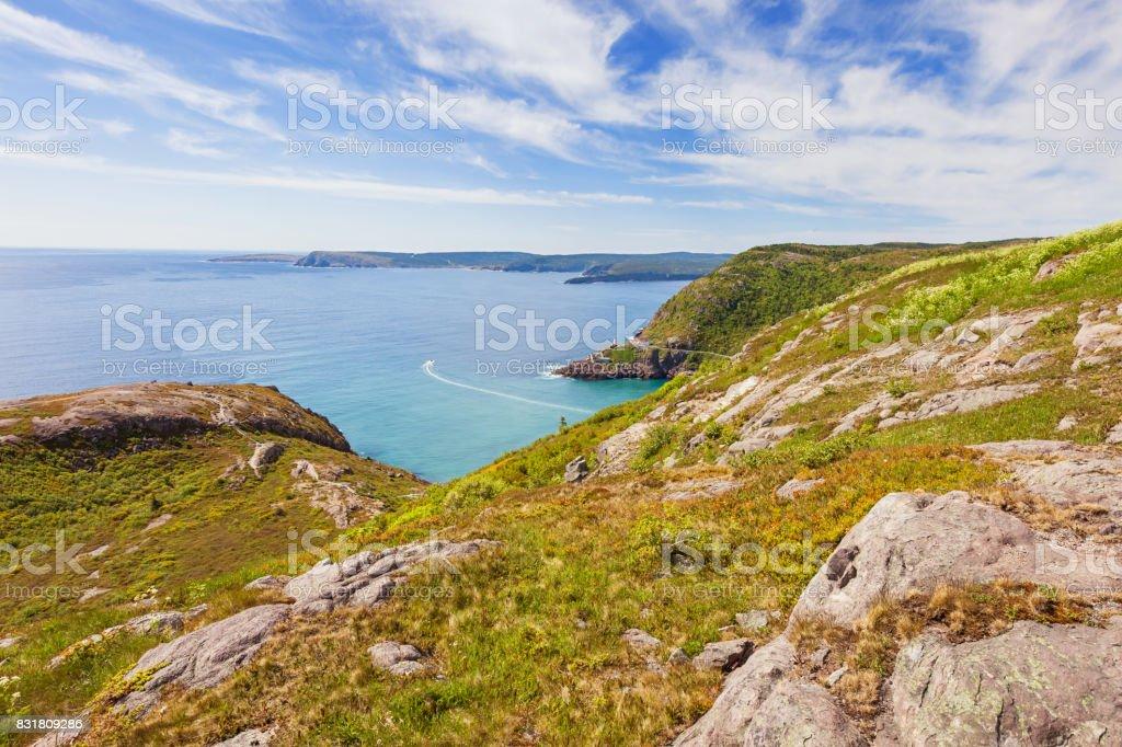 Coastline and Atlantic Ocean from Signal Hill St John's Newfoundland Canada stock photo