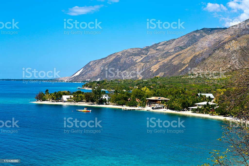 Coastline and blue water in Ouest Province in Haiti stock photo