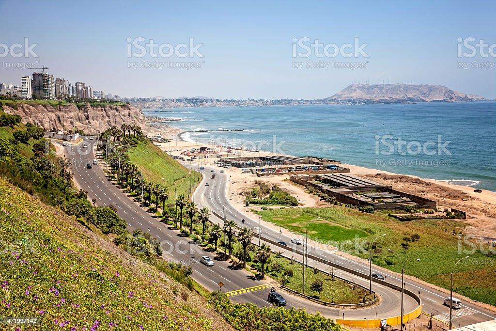 Coastline and coastal road in Lima stock photo