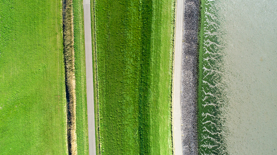 istock Coastline and dyke - aerial view 867589004