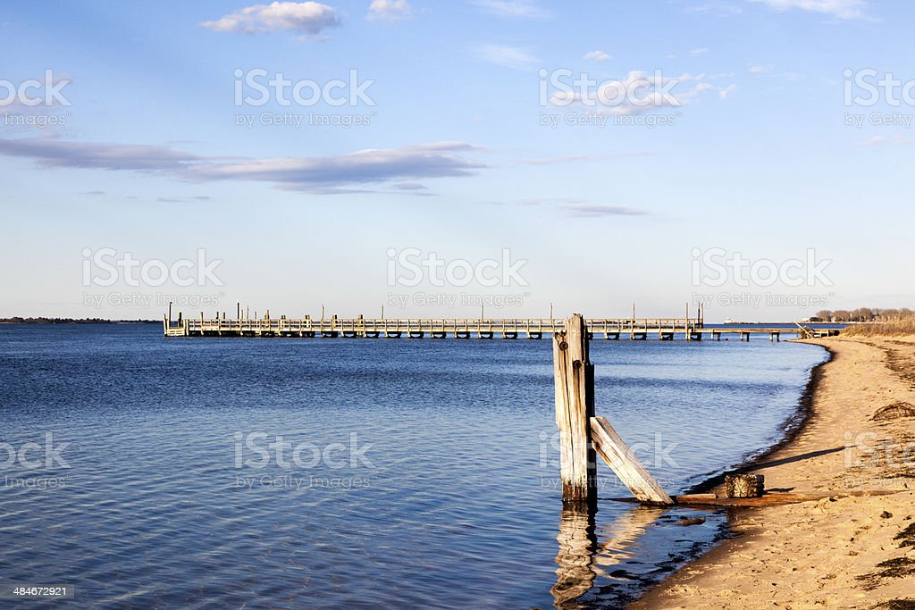 Coastline and Pier stock photo