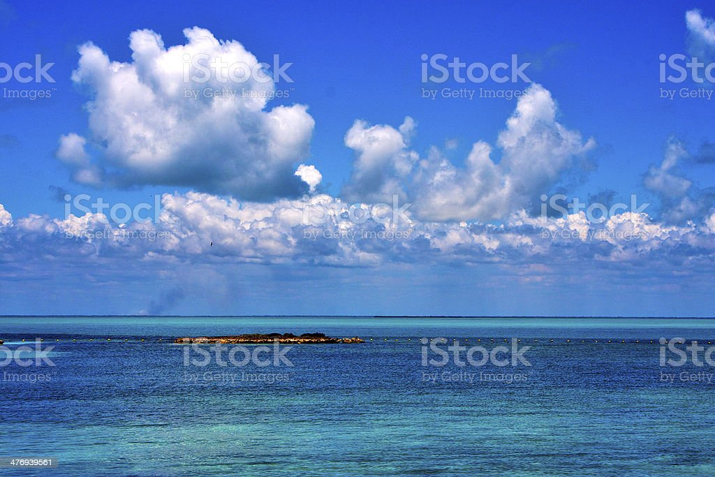 coastline and rock in the  blue lagoon relax stock photo