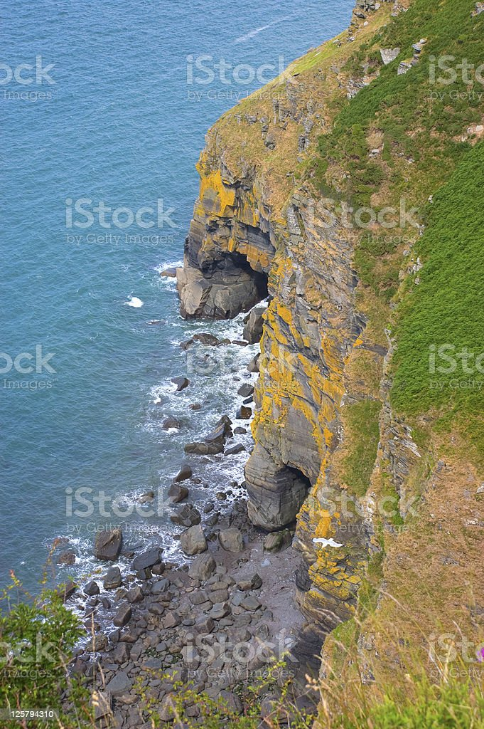 Coastline and Sea Caves stock photo