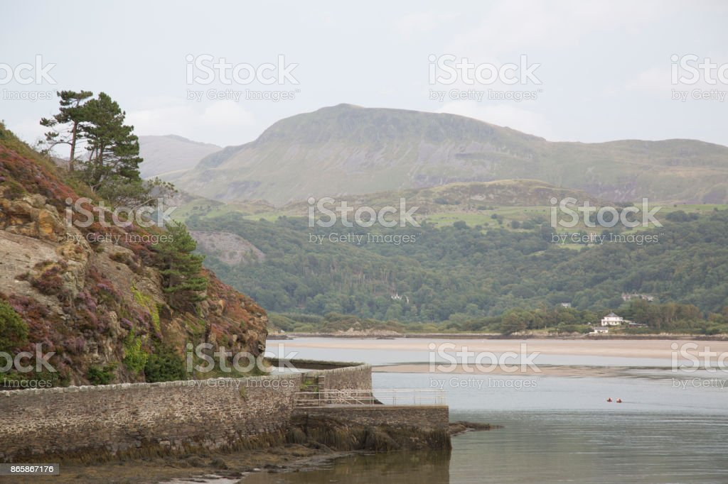 Coastline at Barmouth, Wales stock photo