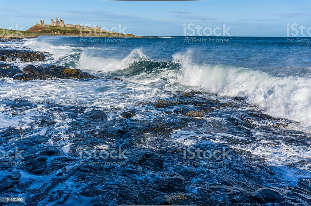 Coastline at Dunstanburgh Castle, Northumberland stock photo