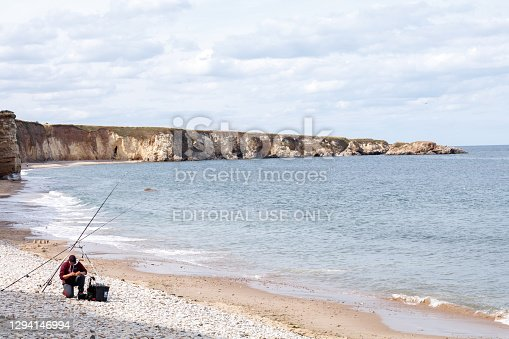 South Shields UK: 11th Aug 2018: Fishing at Marsden Rock Northern England