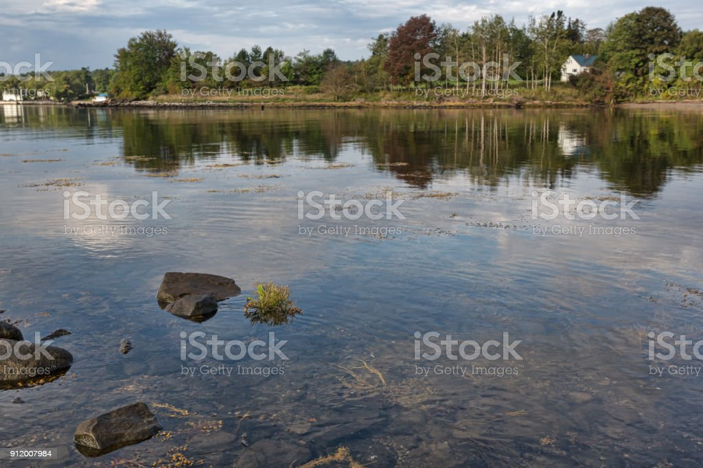 Coastline at Searsport Maine in the summertime stock photo
