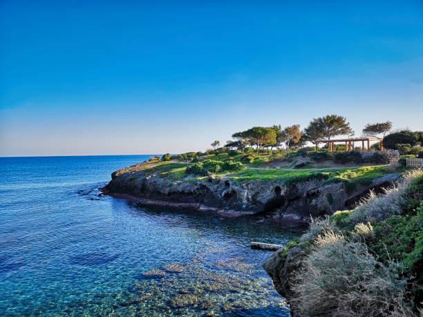 Coastline between Cap d'Ail and Monaco, French Riviera stock photo