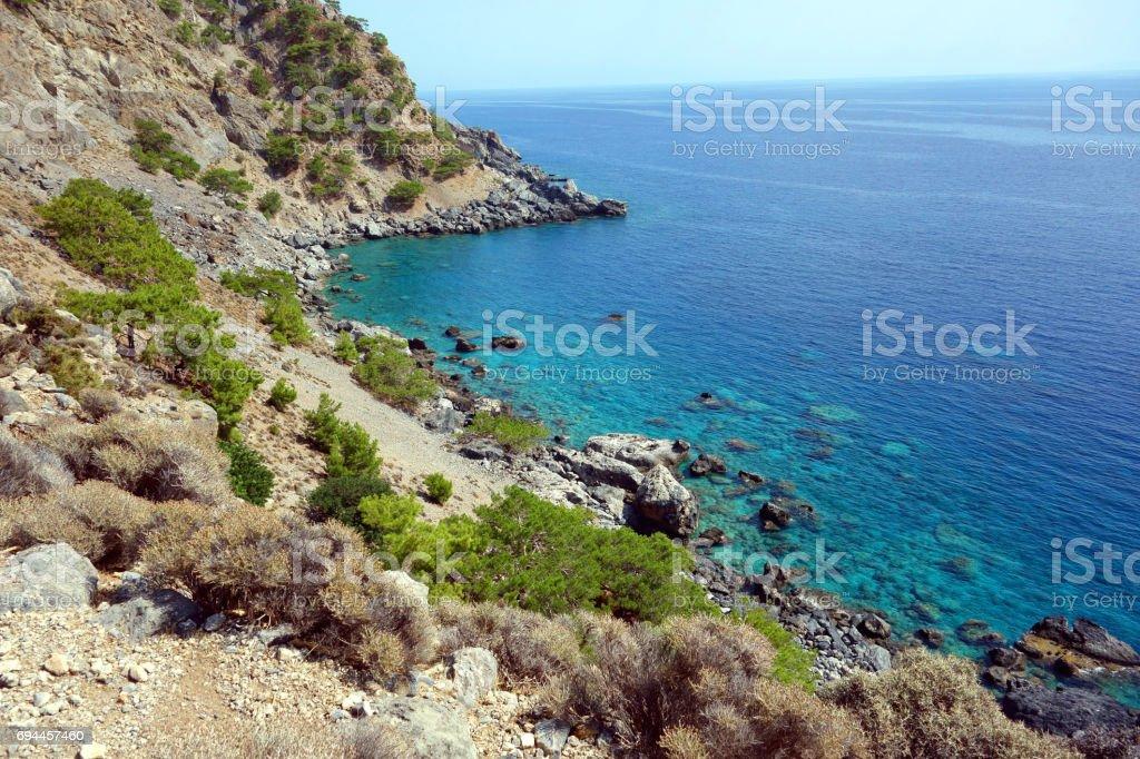 Coastline between Sougia and Agia Roumeli, E4 European long distance hiking path, Crete, Greece stock photo