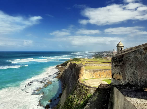 Coastline in front of the Caribbean sea, old San Juan, Puerto Rico. stock photo