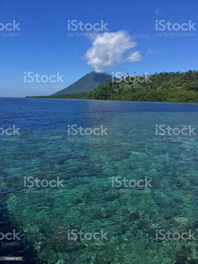 coastline indonesia, sulawesi stock photo