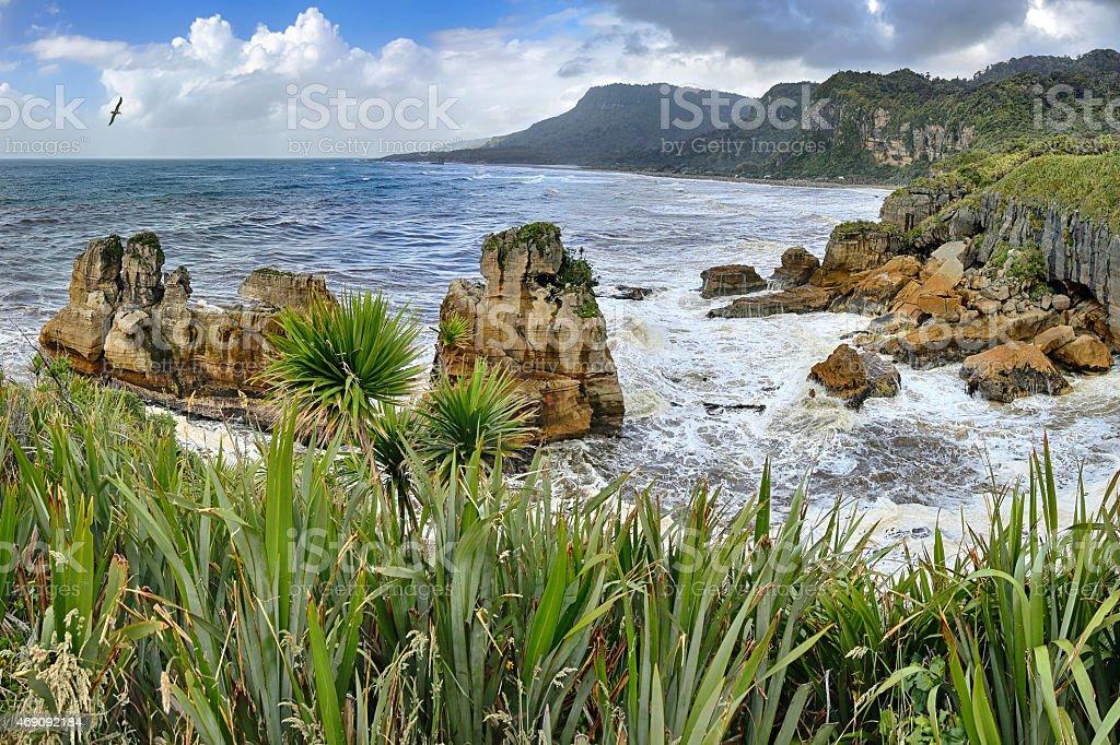 Coastline near Pancake Rocks, New Zealand - HDR panorama stock photo