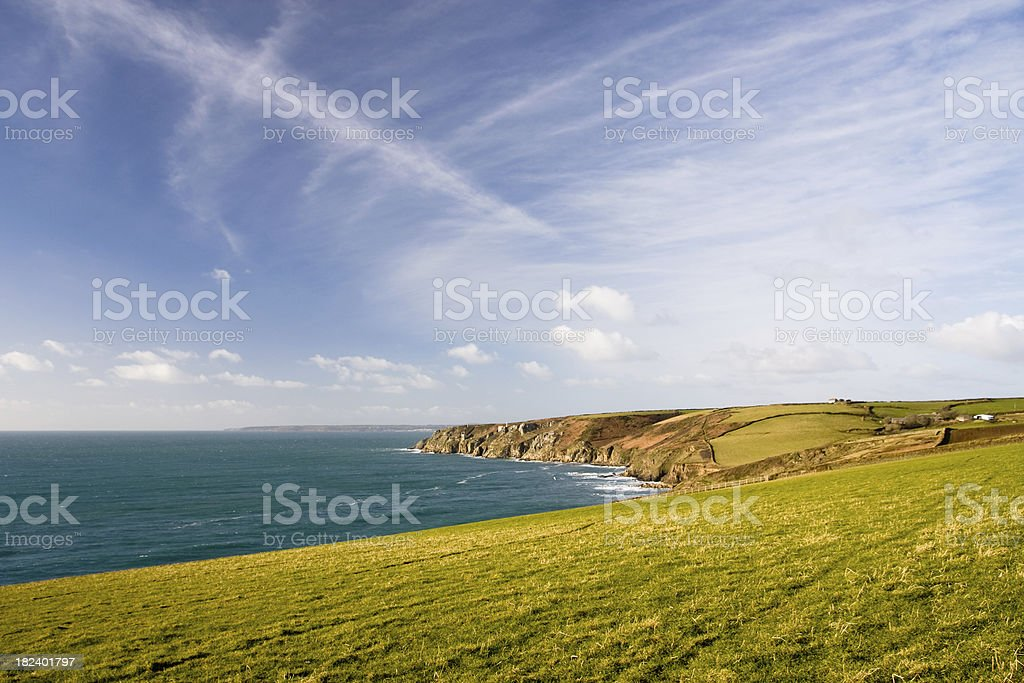 Coastline near Porthleven in Cornwall on a beautiful day royalty-free stock photo