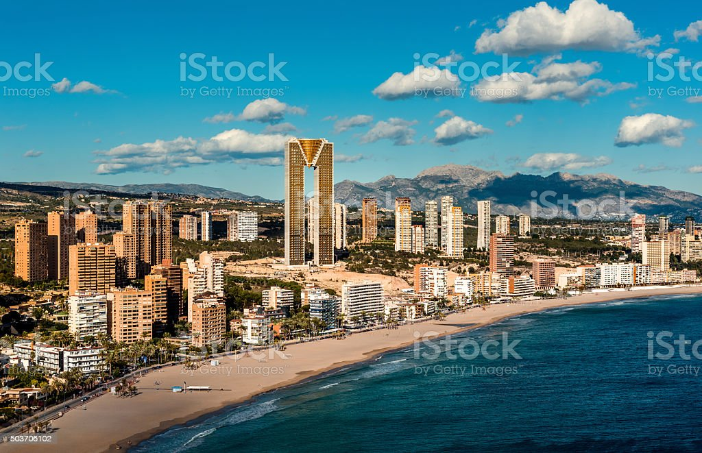 Coastline of a Benidorm city stock photo
