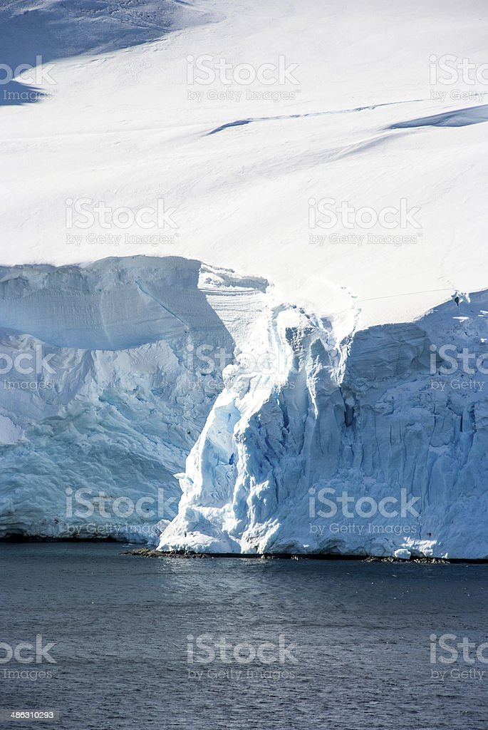 Coastline of Antarctica with ice formations stock photo